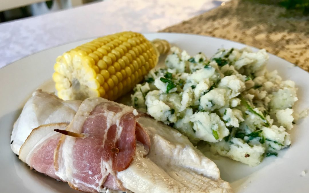 Chicken and Bacon, with Spinach Mash and Corn