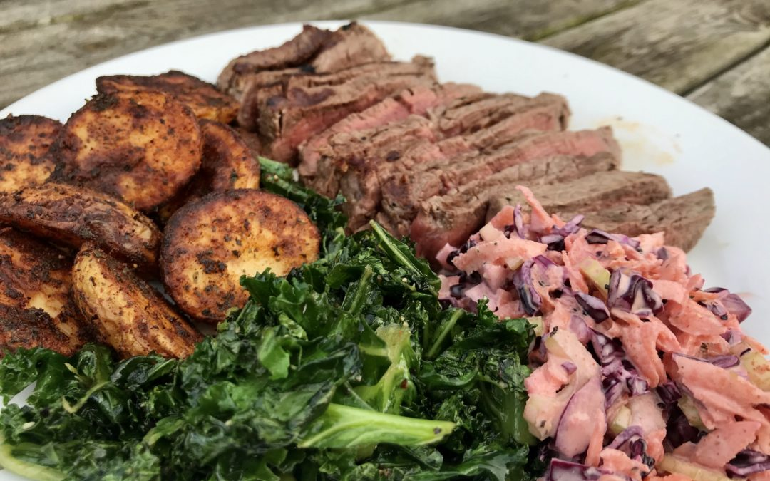 Paprika Potatoes, Steak, Spinach and Coleslaw