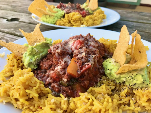 Chilli, Spicy Rice and Mint Guacamole