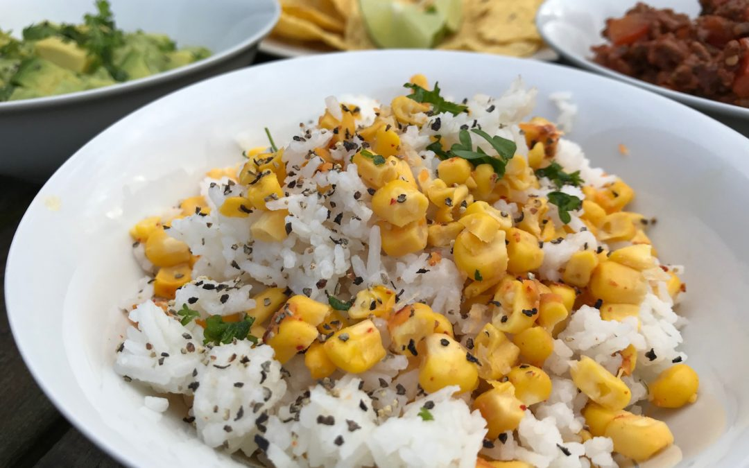 Grilled Corn and Garlic Rice