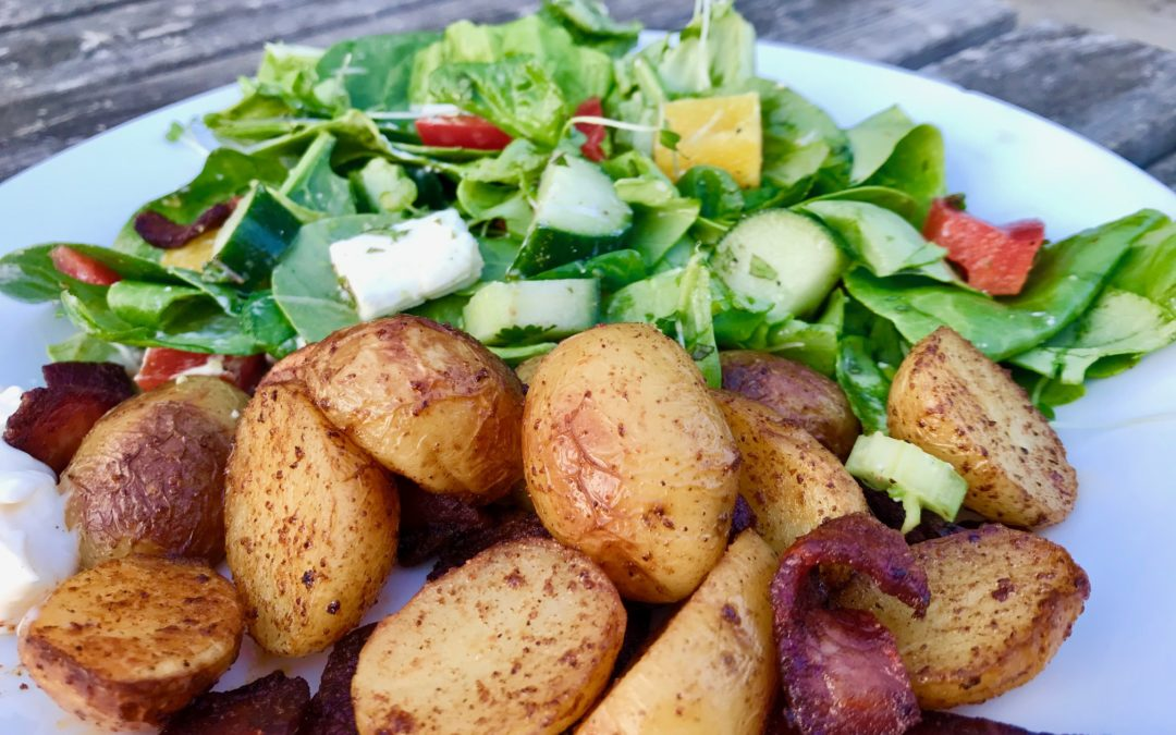 Feta & Mint Salad with Crispy Bacon & Paprika Potatoes